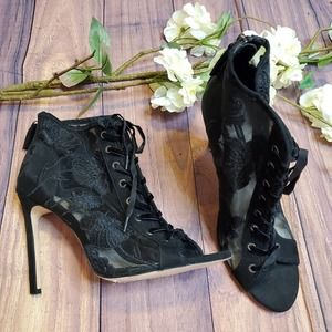 Zara Basic Lace Up Embroidered Heel Shoes